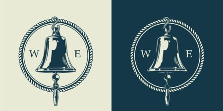 Vintage nautical emblem concept with ship bell and rope in monochrome style isolated vector illustration