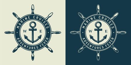 Vintage monochrome nautical with ship wheel and anchor isolated vector illustration Ilustração