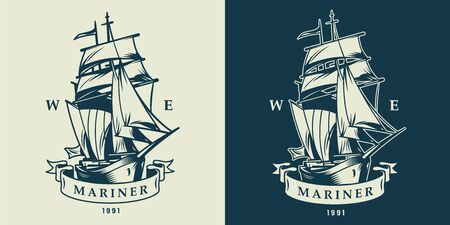 Vintage monochrome nautical and maritime with sailing ship isolated vector illustration Illustration