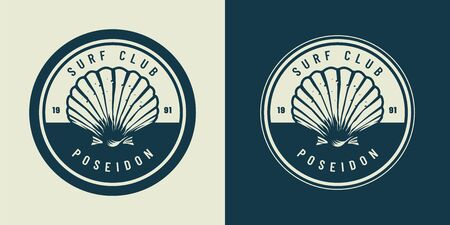VIntage monochrome marine and sea emblem with seashell isolated vector illustration
