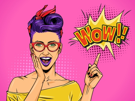 Pop art beautiful surprised lady with purple hair and lips pointing at speech bubble and Wow comic wording vector illustration