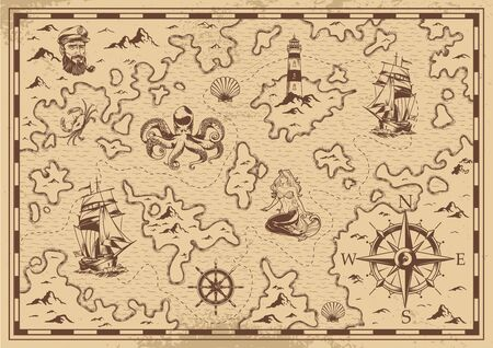 Vintage monochrome pirate treasure map with sailor ship wheel mermaid lighthouse octopus compass seashell vector illustration