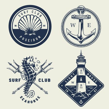 Vintage monochrome sea emblems set with seashell anchor seahorse crossed poseidon tridents lighthouse isolated vector illustration Ilustração