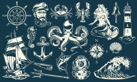 Colección de elementos marítimos y náuticos vintage con animales marinos marinero sirena objetos marinos y accesorios aislados ilustración vectorial