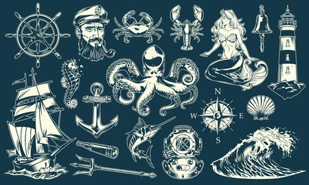 Vintage maritime and nautical elements collection with sea animals sailor mermaid marine objects and accessories isolated vector illustration