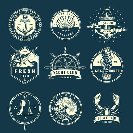 Vintage marine labels collection with shell ship bell helm seahorse marlin lobster sea wave in monochrome style isolated vector illustration Illustration