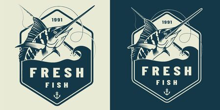 Vintage marine label template with marlin and fishing rod isolated vector illustration