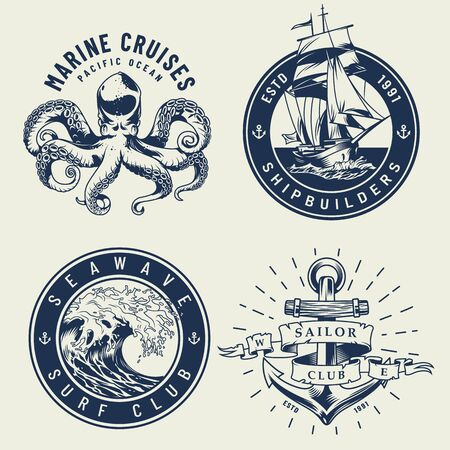 Vintage monochrome nautical labels with octopus ship sea wave anchor isolated vector illustration Illustration