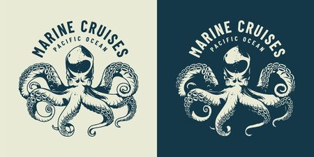 Monochrome sea life emblem with octopus in vintage style isolated vector illustration