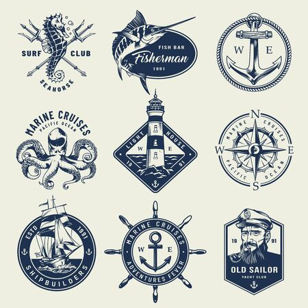 Vintage monochrome nautical with seahorse crossed poseidon tridents swordfish anchor octopus lighthouse navigational compass sailor ship wheel isolated vector illustration Foto de archivo - 128788834