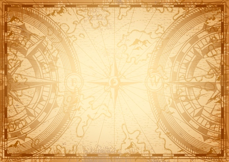Old nautical map light template with navigational compass and wind rose in vintage monochrome style vector illustration