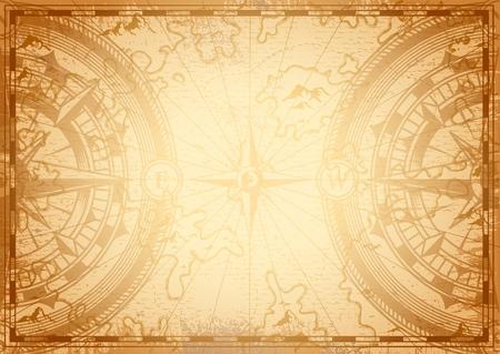 Plantilla de luz de mapa náutico antiguo con brújula de navegación y rosa de los vientos en la ilustración de vector de estilo monocromo vintage Ilustración de vector