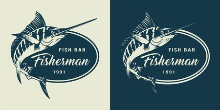 Vintage monochrome seafood with swordfish and inscriptions isolated vector illustration Illustration