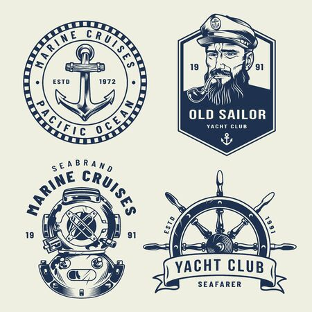Vintage monochrome sea and marine labels with anchor sailor diving helmet ship wheel isolated vector illustration