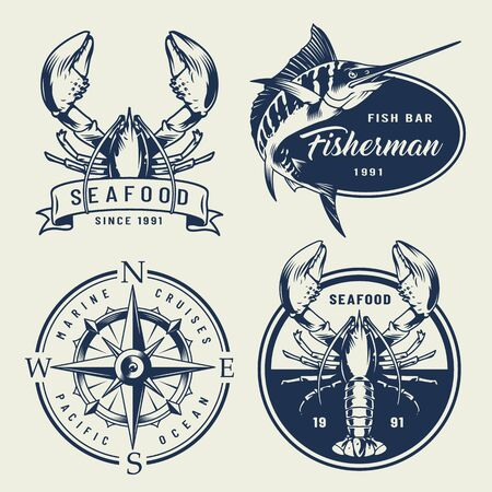 Vintage sea emblems collection with lobsters swordfish compass in monochrome style isolated vector illustration Foto de archivo - 128788911