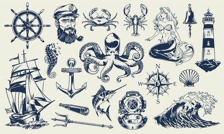 Insieme di elementi nautici monocromatici vintage con marinaio animali marini faro sirena nave casco immersioni ancoraggio bussola poseidone tridente isolato illustrazione vettoriale