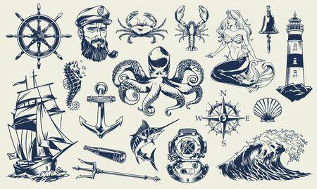 Vintage monochroom nautische elementen instellen met matroos zee dieren vuurtoren zeemeermin schip duikhelm anker kompas poseidon trident geïsoleerde vectorillustratie