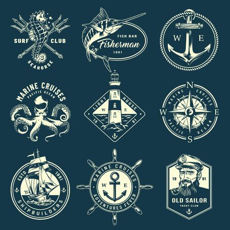 Vintage monochrome marine labels with sea creatures poseidon tridents ship wheel anchor navigational compass sailor lighthouse isolated vector illustration Иллюстрация