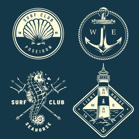 Monochromatyczna kolekcja żeglarska z muszli morskiej kotwica liny konik morski skrzyżowane trójzęby posejdona latarnia morska w stylu vintage na białym tle ilustracji wektorowych