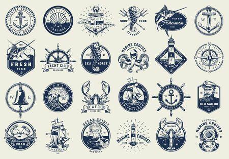 Colección de etiquetas náuticas vintage con elementos marinos y marinos en estilo monocromo aislado ilustración vectorial