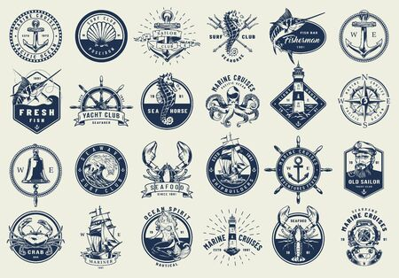 Vintage nautical labels collection with marine and sea elements in monochrome style isolated vector illustration
