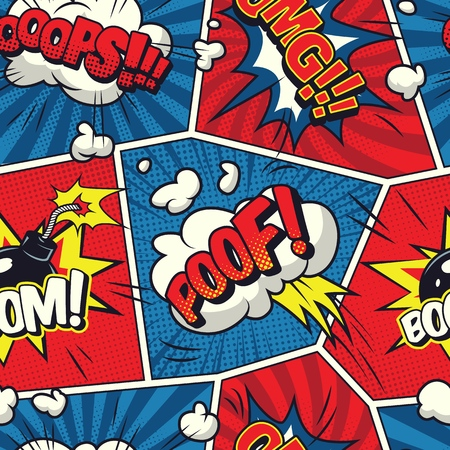 Comic speech bubbles seamless pattern with smoke clouds wordings bomb humor effects on red and blue frames vector illustration Ilustrace
