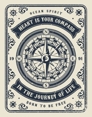 Vintage maritime monochrome template with navigational compass and inscriptions in rectangular frame vector illustration