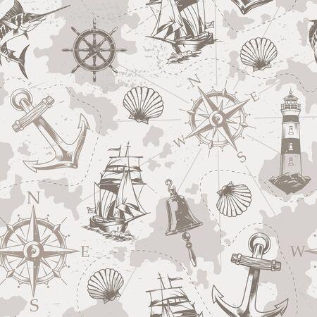 Vintage Meer und Marine nahtlose Muster mit Schiffsglocke Marlin Muschel Navigationskompass Anker Leuchtturm im monochromen Stil Vektor-Illustration