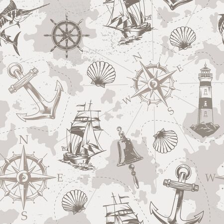 Vintage sea and marine seamless pattern with ship bell wheel marlin seashell navigational compass anchor lighthouse in monochrome style vector illustration