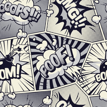 Comic monochrome seamless pattern with Poof Omg Boom wordings speech bubbles radial halftone and rays effects vector illustration