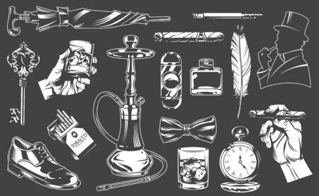Collection d'éléments de gentleman vintage avec différents accessoires en illustration vectorielle de style monochrome Vecteurs