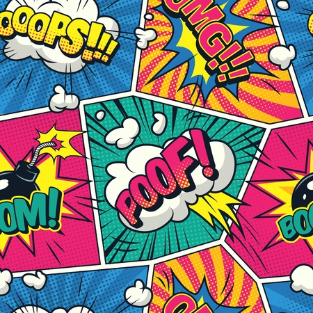Comic colorful seamless pattern with speech bubbles wordings smoke clouds halftone rays radial effects vector illustration