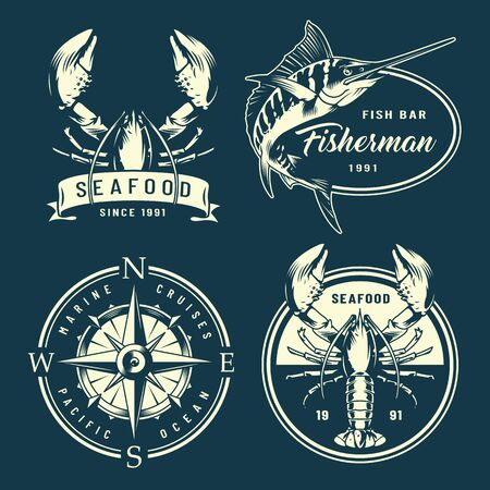 Vintage monochrome nautical and marine labels with navigational compass lobsters marlin isolated vector illustration Foto de archivo - 128789213