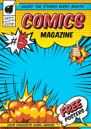 Comic magazine cover template with rays explosive and halftone humor effects vector illustration