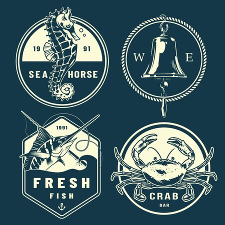Vintage monochrome marine emblems set with seahorse ship bell rope marlin crab isolated vector illustration Foto de archivo - 128789230