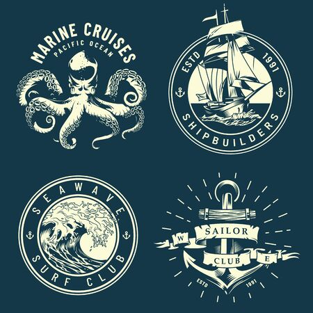 Vintage marine and nautical with octopus sea wave anchor ship in monochrome style isolated vector illustration