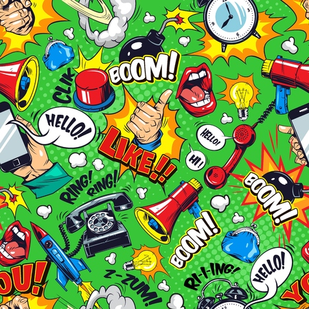 Colorful comic bright seamless pattern with speech bubbles Boom Ring Hello Like wordings megaphone open mouth telephone flying rocket bomb alarm clock vector illustration Ilustrace