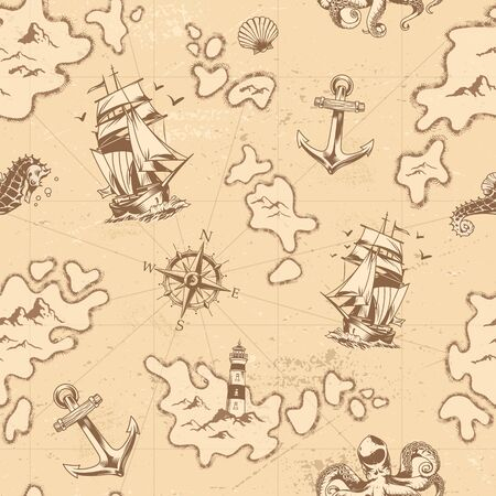 Vintage nautical seamless pattern with ship seahorse octopus anchor lighthouse seashell navigational compass vector illustration Иллюстрация