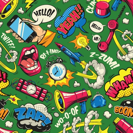 Pop art colorful seamless pattern with comic speech bubbles wordings open mouth dynamite phone megaphone alarm clock purse bomb vector illustration