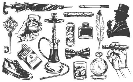 Éléments de gentleman vintage sertis d'élégant homme parapluie cigarettes clé en cuir botte poche montres narguilé verre de whisky noeud papillon plume encrier cigare guillotine illustration vectorielle