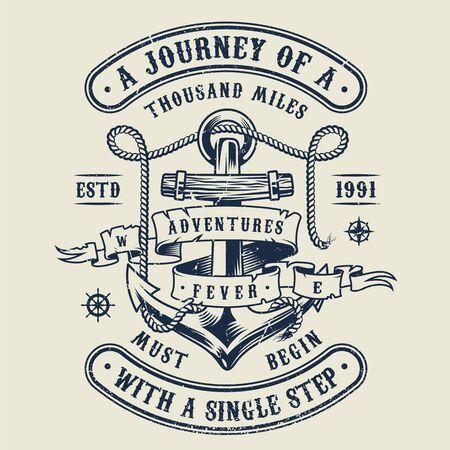 Emblema nautico monocromatico vintage con corda di ancoraggio e iscrizioni isolate illustrazione vettoriale Vettoriali