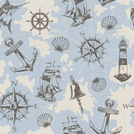 Vintage nautical elements seamless pattern with swordfish ship bell wheel anchor lighthouse seashell navigational compass vector illustration