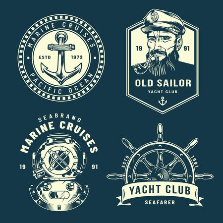 Vintage nautical collection with anchor sailor smoking pipe diver helmet ship wheel in monochrome style isolated vector illustration