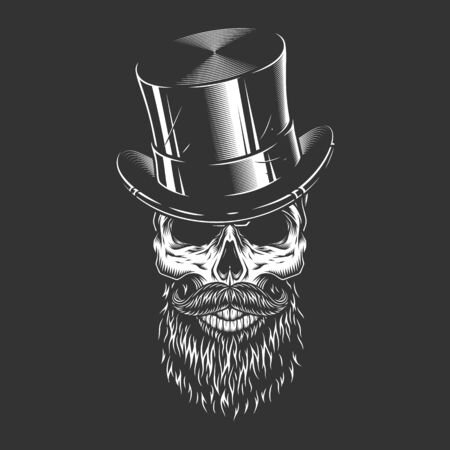 Male skull in gentleman cylinder hat in vintage monochrome style isolated vector illustration