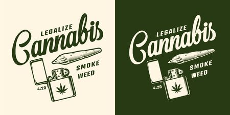 Vintage monochrome marijuana with inscriptions cannabis spliff and lighter isolated vector illustration