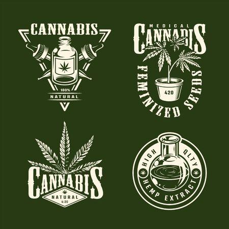 Vintage monochrome Cannabis-Etiketten mit Hanfölpipetten Marihuana-Pflanzen isolierte Vektorillustration