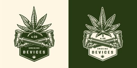 Vintage monochrome cannabis with hemp leaf and marijuana smoking pipe isolated vector illustration