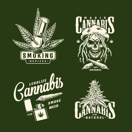 Vintage cannabis prints set with hemp tree plant rastaman skull lighter marijuana bong and crossed spliffs isolated vector illustration