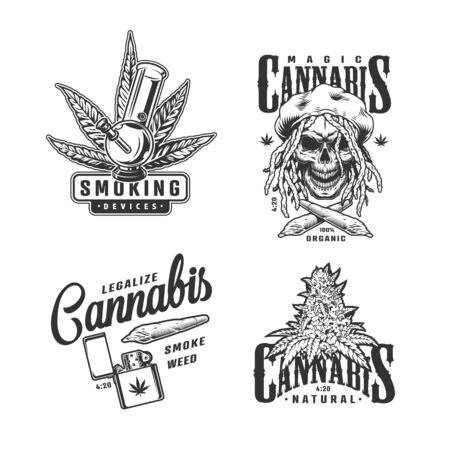 Vintage monochrome cannabis emblems set with inscriptions marijuana bong tree leaf rastaman skull lighter crossed hemp spliffs isolated vector illustration