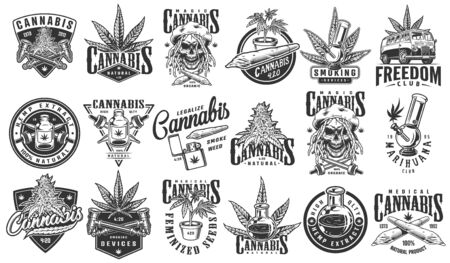 Vintage monochrome cannabis labels set with rastaman skull hemp oil plants van and smoking equipment isolated vector illustration Ilustracja